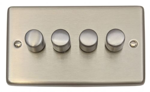 G&H CSS14 Standard Plate Brushed Steel 4 Gang 1 or 2 Way 40-400W Dimmer Switch